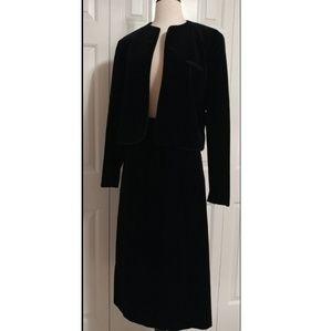 Vintage Black Velvet Skirt Suit